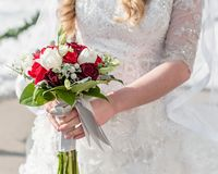 A winter bride holds a red and white bouquet. stock image