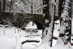 Winter Bridge. Stone Bridge over stream in snow Stock Photography