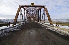 Winter Bridge. A bridge during winter, Alberta, Canada Stock Photo