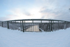 Winter on bridge Royalty Free Stock Photos
