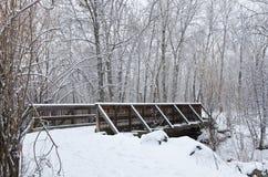 Winter Bridge after a Fresh Snowfall Stock Photography