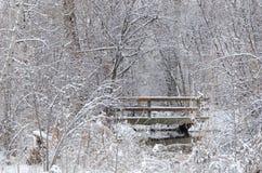 Winter Bridge after a Fresh Snowfall Royalty Free Stock Image