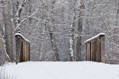 Winter Bridge after a Fresh Snowfall Stock Images