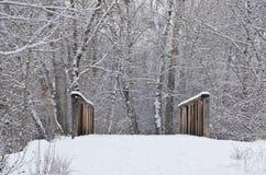 Winter Bridge after a Fresh Snowfall Stock Photo
