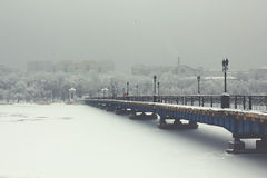 Winter bridge royalty free stock images