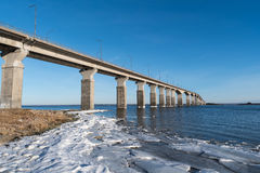 Winter by the bridge Stock Images