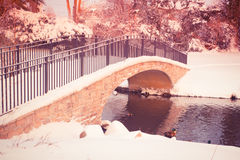Winter Bridge over Pond. Beautiful snowy winter pond with footbridge with vintage tone filter Royalty Free Stock Image