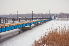 Winter Bridge in the park Royalty Free Stock Image