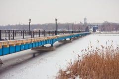 Winter Bridge in the park Royalty Free Stock Image