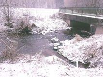 Winter bridge. Bridge winter water cold snow stock photo