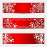 Winter bright seasonal Banners in red. Royalty Free Stock Photo