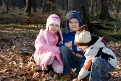 Winter Brothers And Sister Royalty Free Stock Images
