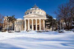 Winter in Bucharest - Concert Hall. Beautiful winter day in Bucharest, Romania. The Romanian Athenaeum is a concert hall in the center of Bucharest, and a Stock Images