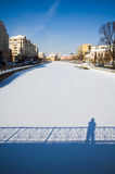 Winter in Bucharest - Dambovita river Stock Photography
