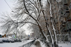 Winter in Bucharest. 06 January 2017-Bucharest,Romania- The street in the district Lujerului after the first snow Stock Photos