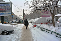 Winter in Bucharest. 06 January 2017-Bucharest,Romania- The street in the district Lujerului after the first snow Royalty Free Stock Images