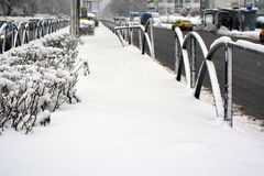 Winter in Bucharest. 06 January 2017-Bucharest,Romania- The street in the district Lujerului after the first snow Stock Image
