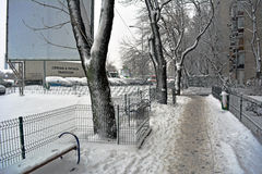 Winter in Bucharest. 06 January 2017-Bucharest,Romania- The street in the district Lujerului after the first snow Royalty Free Stock Image