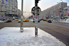Winter in Bucharest. 06 January 2017-Bucharest,Romania- The street in the district Lujerului after the first snow royalty free stock photos