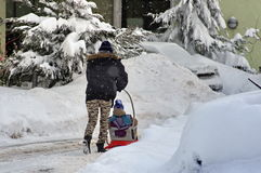 Winter with snow in Bucharest, Romania Stock Image