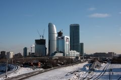 Winter Buildings. Moscow downtown construction Royalty Free Stock Image