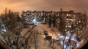 Winter. Buildings with flats at night, timelapse Stock Images