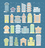 Winter buildings icons. Skyscrapers and towers in snowfall. Snow. On rooftops and snowdrifts. Urban structure. City in snowstorm. Elements of city. Government vector illustration