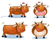 Winter bulls. Set of vector illustrations of bulls royalty free illustration