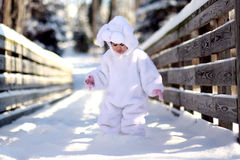 Winter bunny. A two year old girl dressed as a bunny for easter Stock Photography