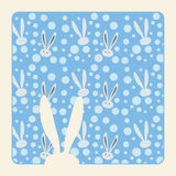 Winter Bunny border. White Bunny FRAME and snowflake on blue background. Winter Snow Holiday Pattern with Bunny. Digital Vector Illustration Stock Images