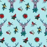 Winter-buntes nahtloses Muster mit Rotwild und Vögeln lizenzfreie abbildung