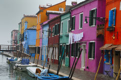 Winter in Burano, Row of Houses Royalty Free Stock Images