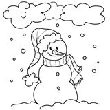 Winter - bw illustration Royalty Free Stock Image
