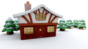 Winter cabin. 3d render of a winter cabin and christmas trees