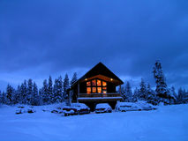 Winter Cabin. Cabin in stand of pine trees covered in snow in the winter Stock Photography