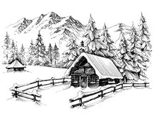 Winter cabin drawing Stock Images