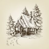 Winter cabin exterior. Pine trees forest and snow vector illustration
