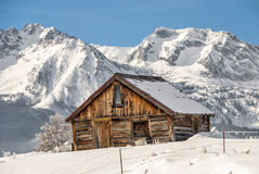 Winter Cabin and Idaho mountains Stock Photos
