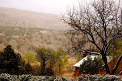 Winter cabin in the mountains. Snow capped Winter cabin in the mountains Royalty Free Stock Photography
