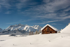 Winter cabin in the Sawtooths of Idaho Stock Photos