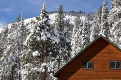 Winter Cabin with Snow Covered Roof Royalty Free Stock Images