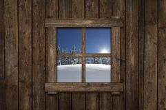Winter Cabin Window Stock Photos