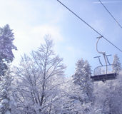 Winter cable railway Royalty Free Stock Images