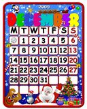 Winter Calendar. An illustrated calendar for the month of December 2009 with winter & Christmas objects Royalty Free Stock Images