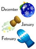Winter calendar - december, january, february Royalty Free Stock Image
