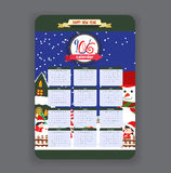 Winter Calendar 2016 year design.  Stock Photos