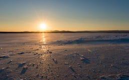 Winter came frozen lake. Royalty Free Stock Image
