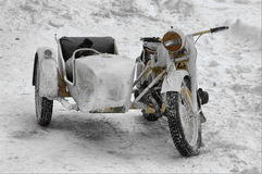 Winter camouflaged German military bike. Royalty Free Stock Photos