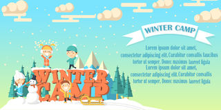 Winter camp banner with children Royalty Free Stock Photos