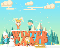 Winter camp isometric illustration Stock Images